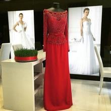 Rot Abendkleider Mit Langen Ärmeln mit Schwer Gefrieste Sexy Weg Von Der Schulter Prom Kleider Elegante Formale Kleider Neue Designs