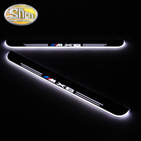 SNCN 4PCS Acrylic Moving LED Welcome Pedal Car Scuff Plate Pedal Door Sill Pathway Light For BMW X6 E71 E72 F16 2008 2016 2017