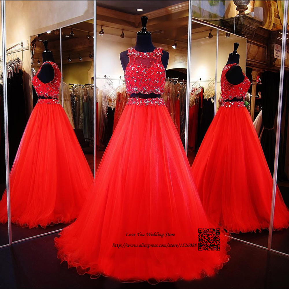 Real Red Two Piece Prom Dress 2016 Lace Formal Special Occasion Evening Gowns Bead Long Party Dresses Vestido De Baile Formatura Exquisite Traditional Embroidery Art