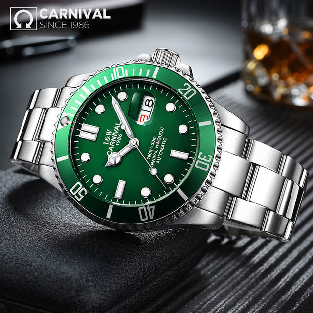 c0efa7f73b3 Online Shop Top Brand Luxury CARNIVAL Watch Men GMT Automatic Mechanical  Watches Business Luminous Sapphire Stainless Steel Diving Watch