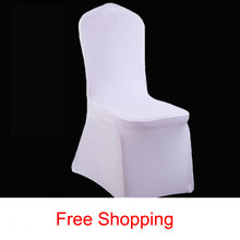 2018 New Polyester Wedding Chair Cover Hotel Banquet Stretch White Seat Covers Thicken Events Meeting Wedding Party Home Dining(China)
