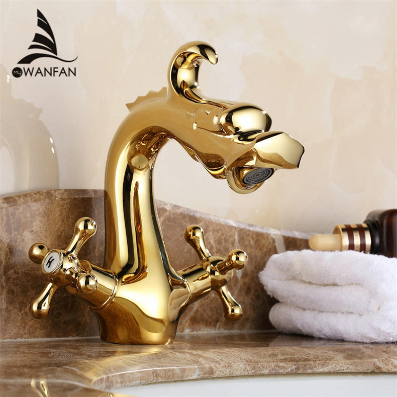 Antique Dragon Bathroom Basin Faucet Brass Bathroom Faucets Single Handle Hot and Cold Water Tap Deck Mounted Mixer  ZLY-6052 single handle white ceramic bathroom faucet single hole wash basin faucets bathroom tap chorm brass water faucet for bathroom