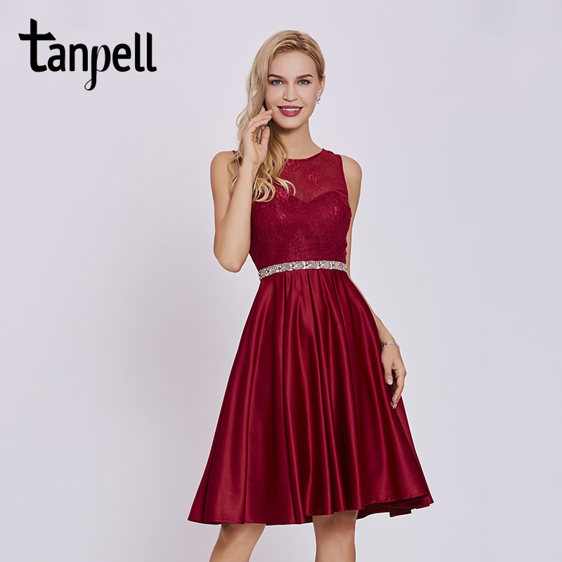 Tanpell beaded lace cocktail dress burgundy sleeveless knee length a line gown women homecoming formal short cocktail dresses