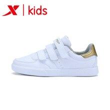 Xtep/детская обувь; спортивная обувь; повседневная детская обувь для больших детей; Белая обувь; волшебные наклейки; 683315319962