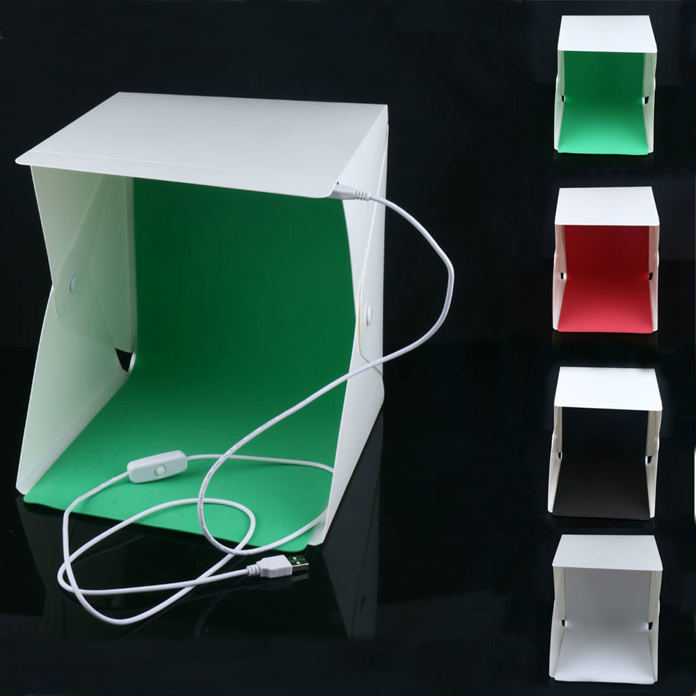 New Mini Folding Studio Diffuse Soft Box With Led Light Black White Green Red Background Photo Studio Accessories Lightbox Cheapest Price From Our Site