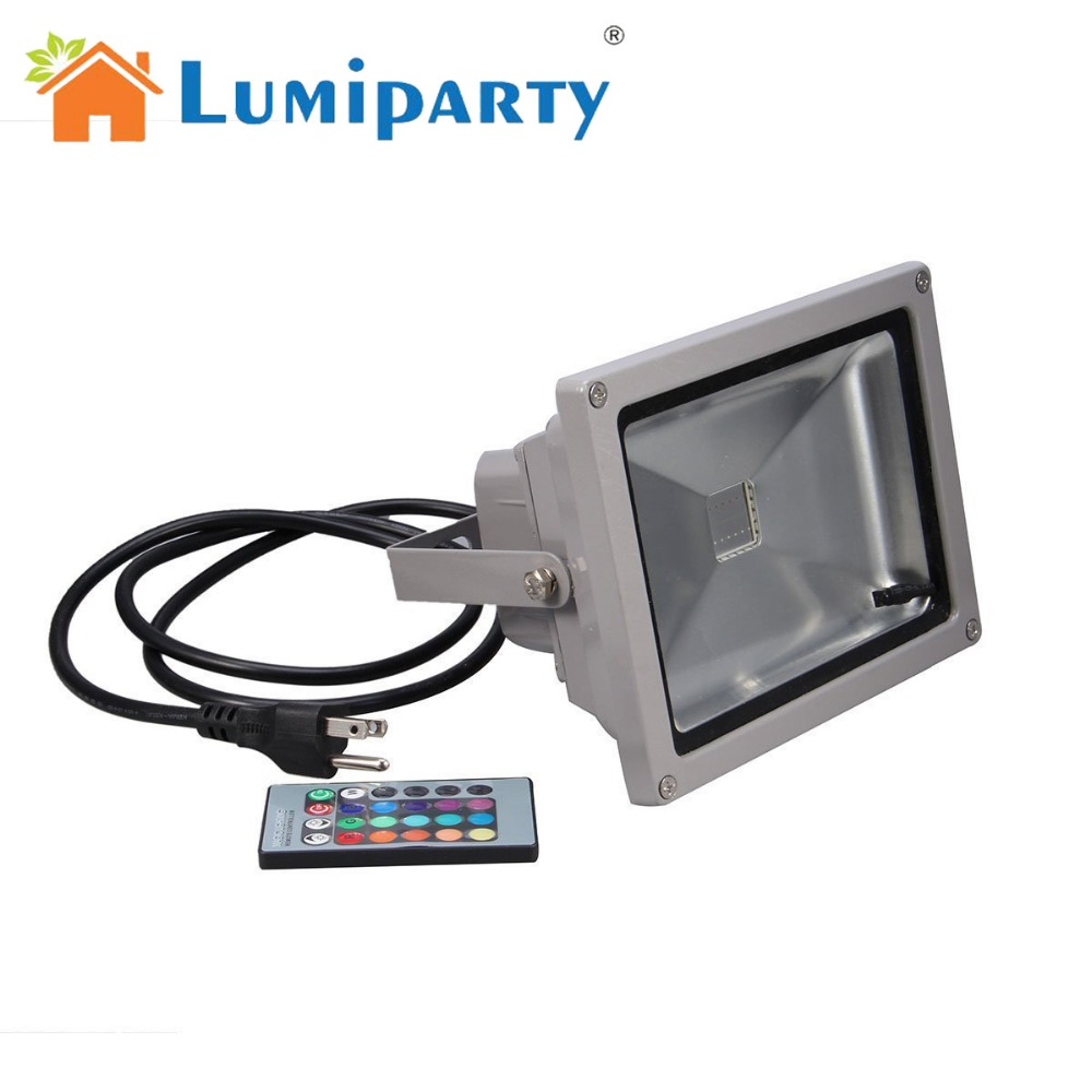 LumiParty 16 Color Tones RGB LED Flood Light for Illumination and Beautification of Home Hotel Garden Landscape ...