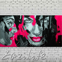 knife portrait Face Oil painting Character figure canva Hand painted Francoise Nielly  Art picture  room88