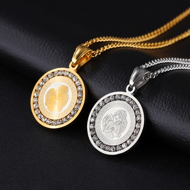 Men Women Religious Jewelry Gold Silver Stainless Steel Round Crystals Angel Wings Pendant Necklace 22