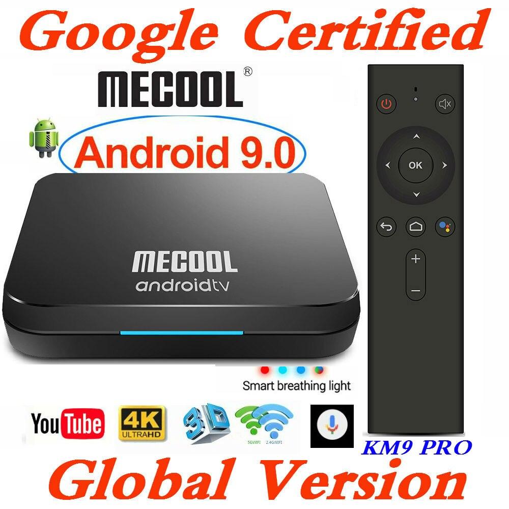 Google Certified MECOOL Androidtv Smart TV Box Android 9.0 KM9 PRO ATV 2G/16G Amlogic S905X2 4K 2.4G/5G Wifi KM3 TV BOX 4G/128G
