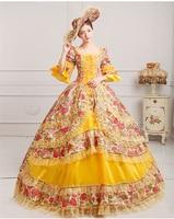Royal Court Medieval Dress Queen Renaissance Ball Gown Victorian Evening Dress Halloween Formal Event Cosplay Costume yellow