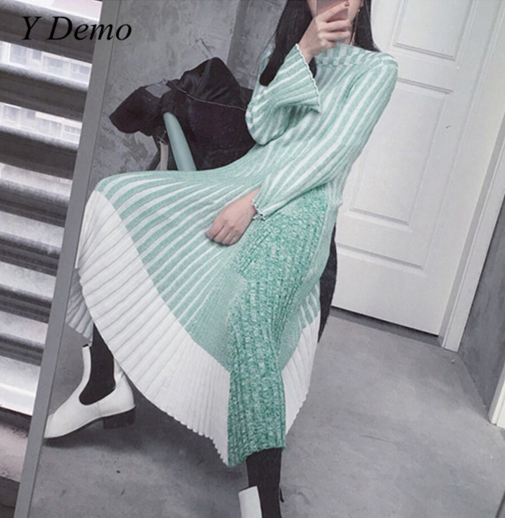 Female Color Mixing Knitted Dress Autumn Asymmetric Patchwork Women's Dress readit patchwork dress 2017 autumn faux pearl beading transparent flare sleeve patchwork knitted dress ruffled bottom dress d251