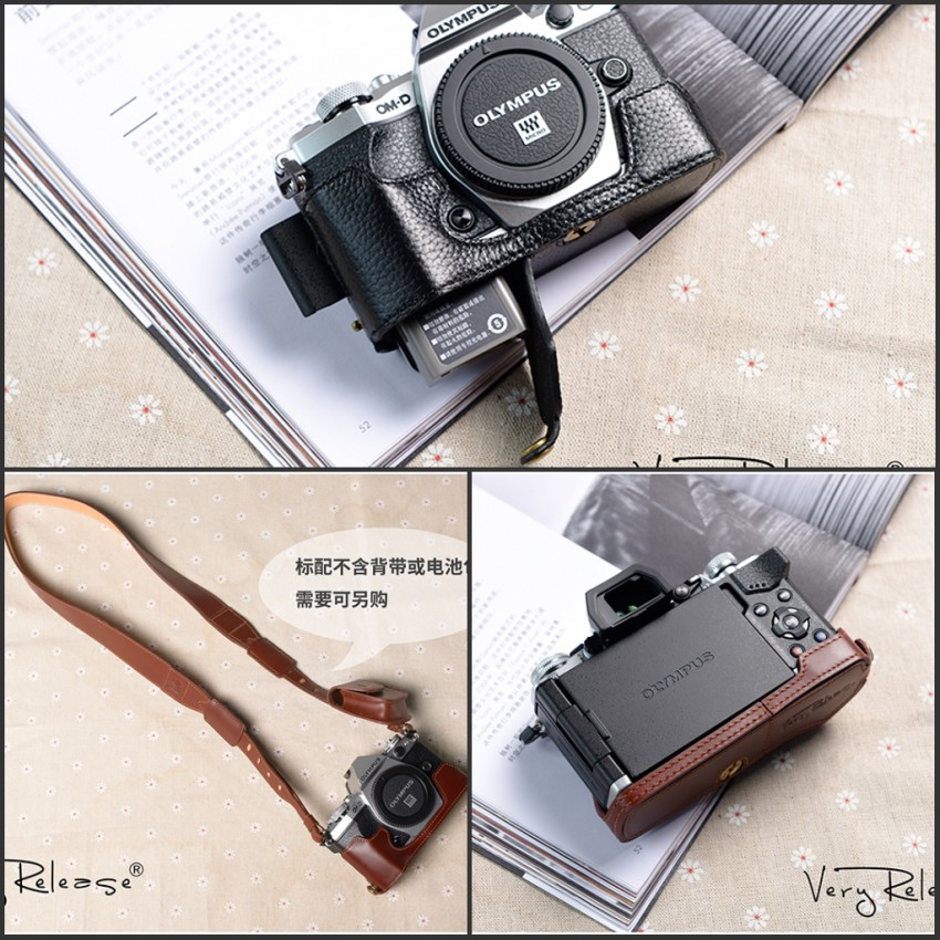 [VR] Brand Handmade Genuine Leather Camera case For Olympus O EM5 II OMD EM5 Mark II Camera Bag Half Body Cover Handle Case