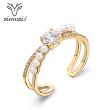 Viennois Light Gold Color Rings for Women Simulated Pearl Cocktail Rings Female Mixed-color Party Rings Metallic Gold Jewelry
