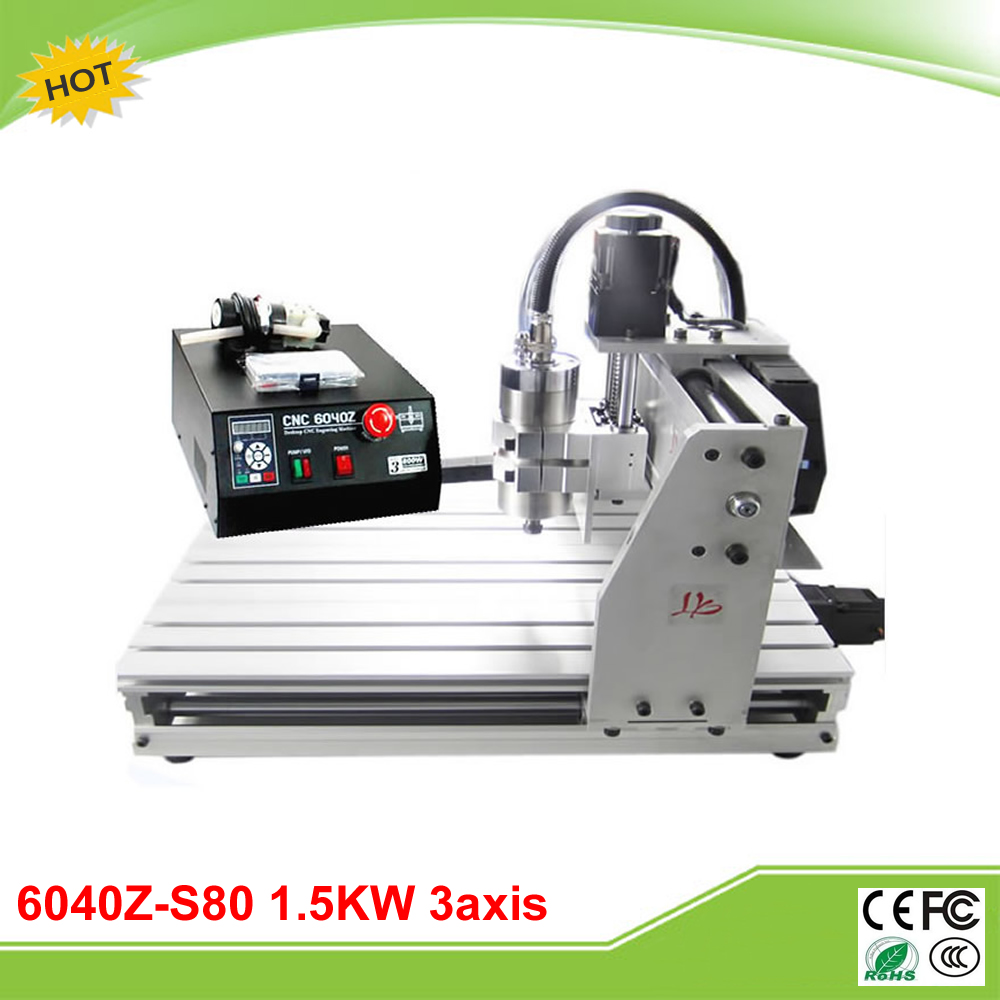 6040Z-S80 3axis mini CNC router with 1.5KW VFD water cooled spindle free tax to RU cnc 3040z s 3 axis mini cnc router with 800w vfd water cooled spindle engraving lathe machine free tax to eu