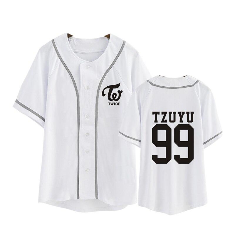 Kpop Korean Fashion TWICE Third Mini Album TWICEcoaster LANE1 Cotton Cardigan Tshirt K-POP Button T Shirts T-shirt PT344