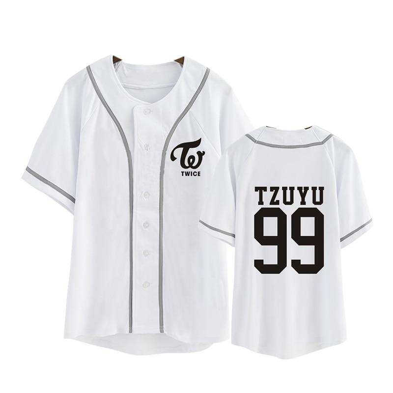 Kpop de moda coreana dos veces tercera Mini álbum TWICEcoaster LANE1 de Rebeca de algodón camiseta K-POP botón T camisas camiseta PT344