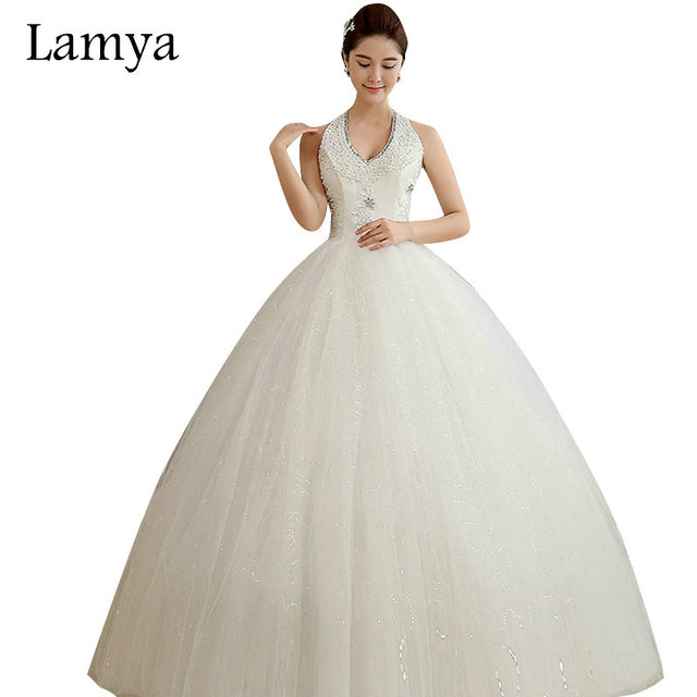 Lamya Halter Crystal Lace Up Wedding Dress With Embroidery Sequined