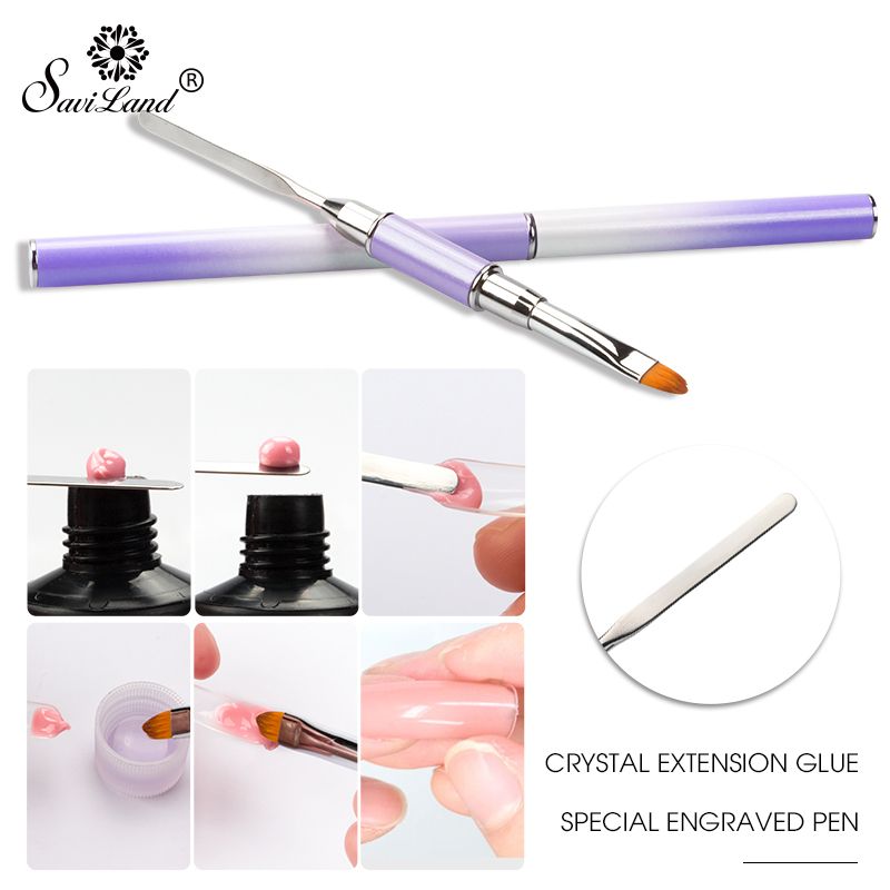 Saviland Poly Gel Brush Flat UV Gel Builder Tool Nylon Hair Nail Brushes Pen for Building UV Gel False Nail Tips Extension