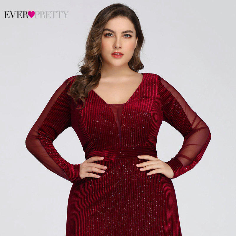 Plus Size Evening Dresses Long Ever Pretty EP07394 Elegant Sparkle Mermaid V-neck Velvet Long Sleeve Black Wedding Guest Gowns