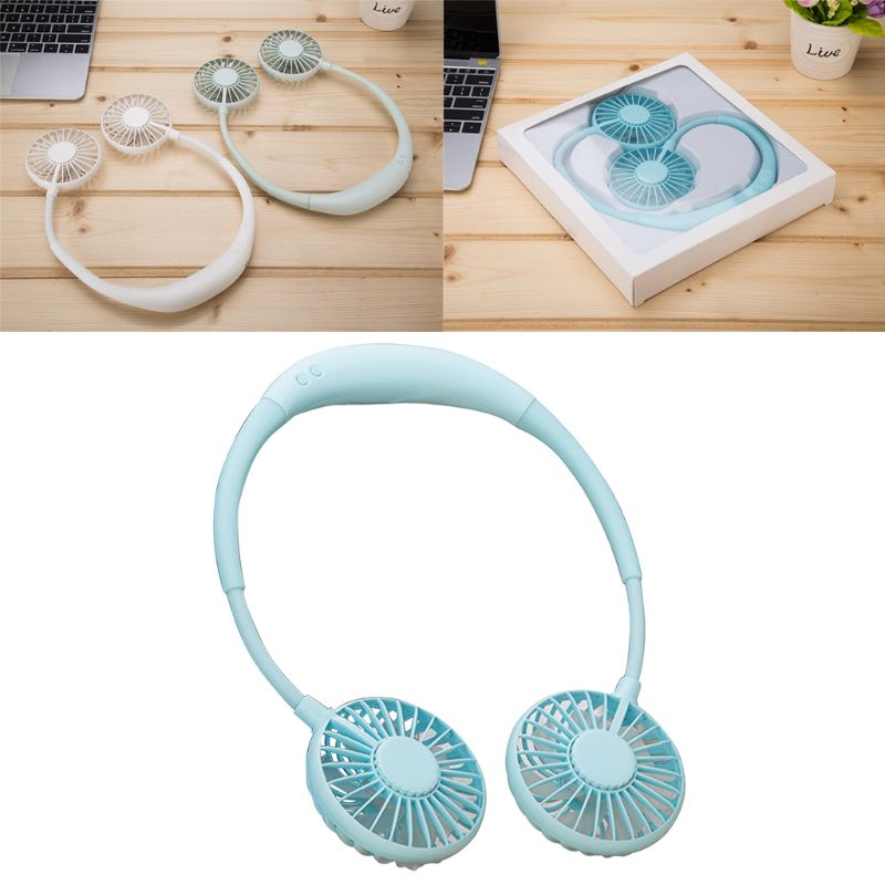 Hand Free Mini Portable Fan Battery With Colorful Lights Two Fans Hanging Around The Neck For Sport 4