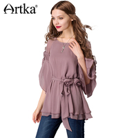 Artka Women S 2017 Summer 3 Colors Draped Chiffon Shirt Vintage O Neck Flare Sleeve Shirt
