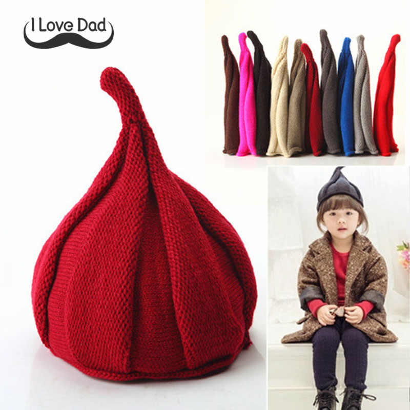 Children Knitted Hat Cap Cute Pointy Tide Shall Windmill Hats Girls Boys Autumn Fashion Cap For Kids For 1-3Y Warm Beanie Bonnet