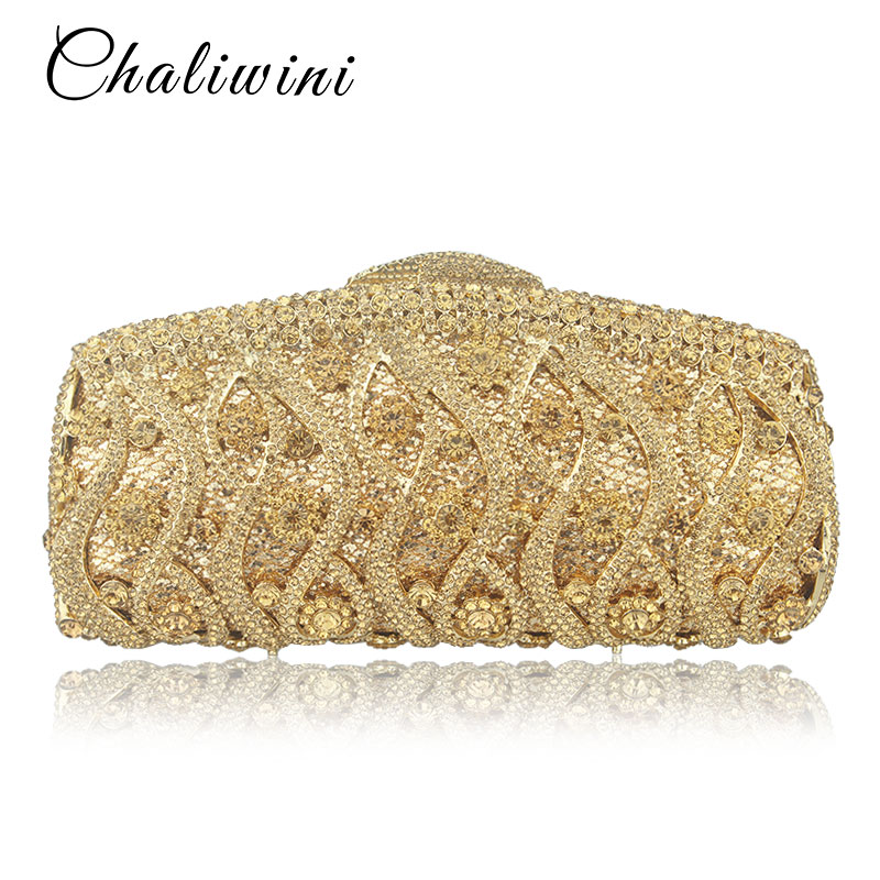 Women Flower Hollow Out Peach Champagne Crystal Rhinestone Evening Clutch Bag Wedding Bridal Metal Handbag Clutches