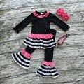 Outono/inverno roupas de bebê boutique preto rosa quente listrado outfits roupas pant mangas compridas babados arco de correspondência e colar
