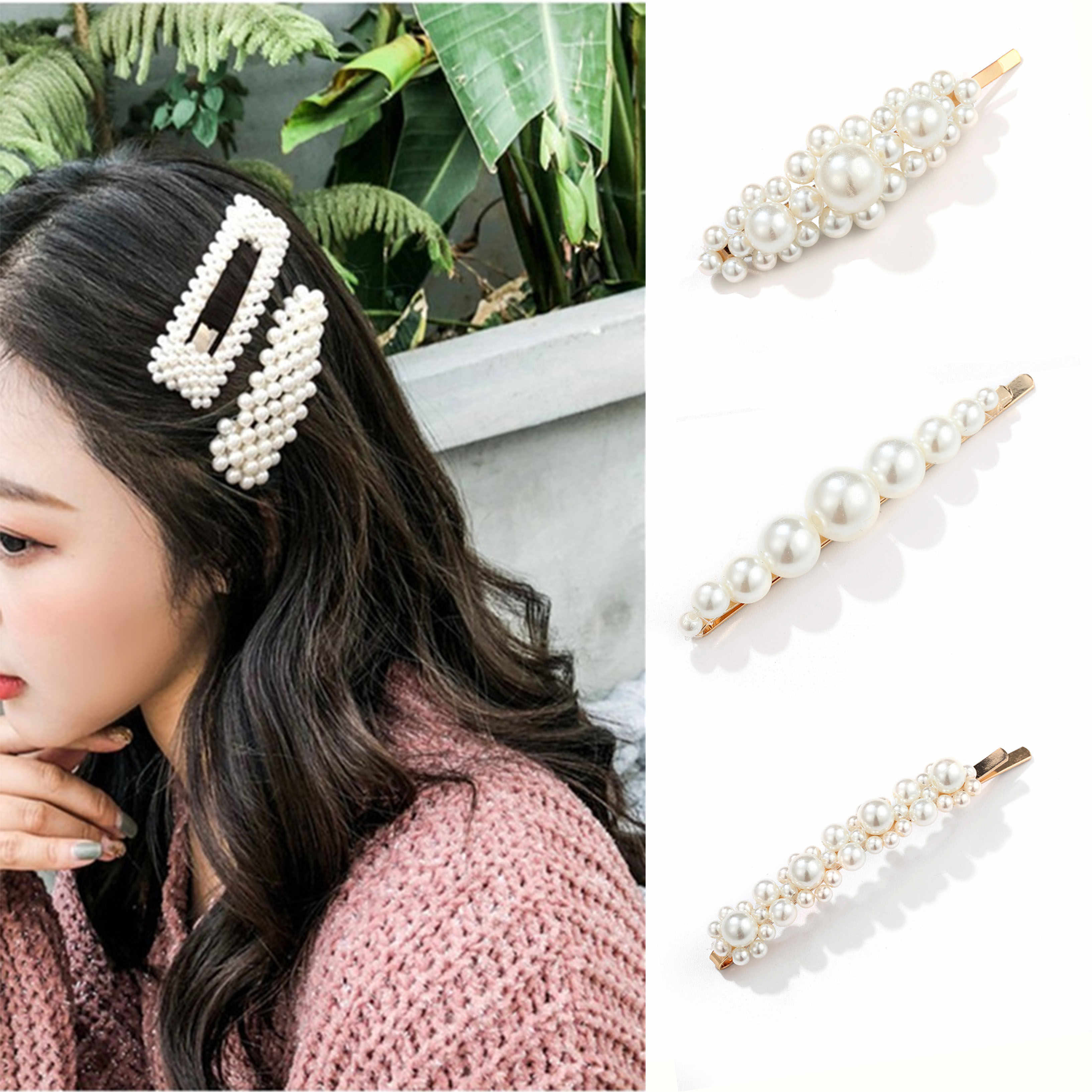 Hot Sale Pearl Beads Hair Clips Set Korean Girl Hair Bobby Pin Geometric Handmade Headwear Accessories For Women Ladies