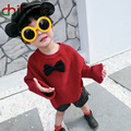 Chifave 2017 New Autumn Baby Unisex Clothes O-neck Collar Loose Sweater Bow Decoration Kids Boys Girls Pullover 2 Colors Sweater