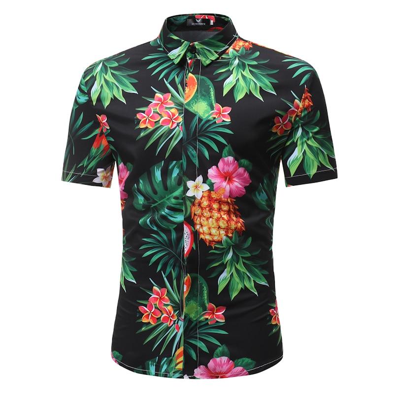 Mens Shirt Personality Sandy Beach Wind Pineapple Printing Mens Small Fresh Recreational Collar Long Sleeve Shirt Lemon Back To Search Resultsmen's Clothing Casual Shirts