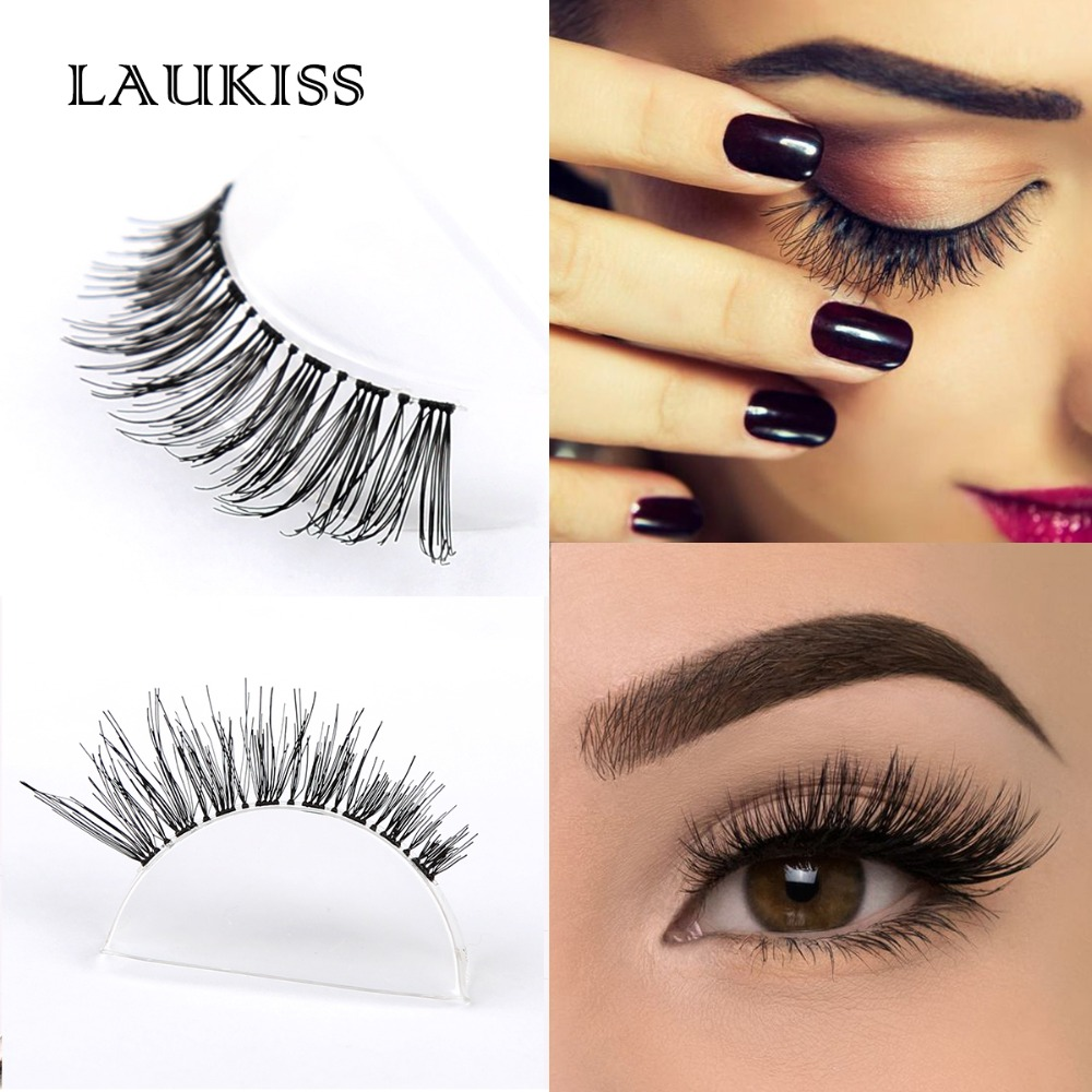 Real Human Hair EyeLashes 1 Pair False Eyelash Extension Kit Faux Cilia Clear Band Eyelash Tool set High Quality LAUKISS