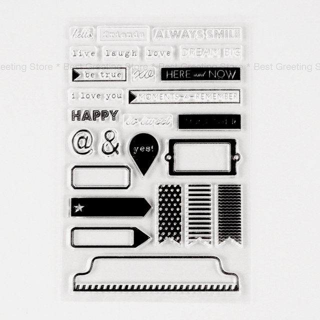 Daily Words Stamps Clear Silicone Rubber Stamps For Scrapbooking Label Frame Stamps