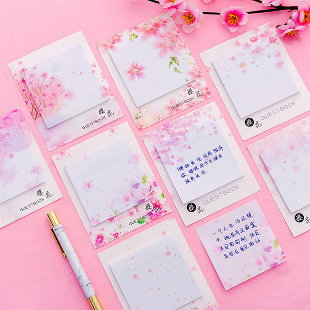 Cute Kawaii Cherry blossoms Memo Pad Sticky Notes Stationery Sticker Posted It Planner Stickers Notepads Office School Supplies 2