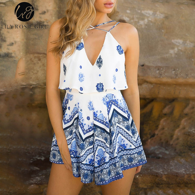 Lily Rosie Girl Sexy V Neck Summer Playsuit Print Floral Boho Beach Playsuit Spaghtti Strap Short   Jumpsuit   Rompers Vestidos