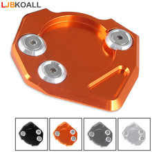 LJBKOALL New Motorcycle CNC Aluminum Kickstand Side Stand Extension Pad Plate For KTM Duke 200 390 2013 2014 2015
