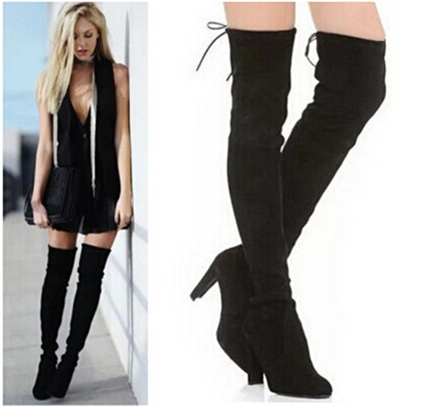 high suede black boots