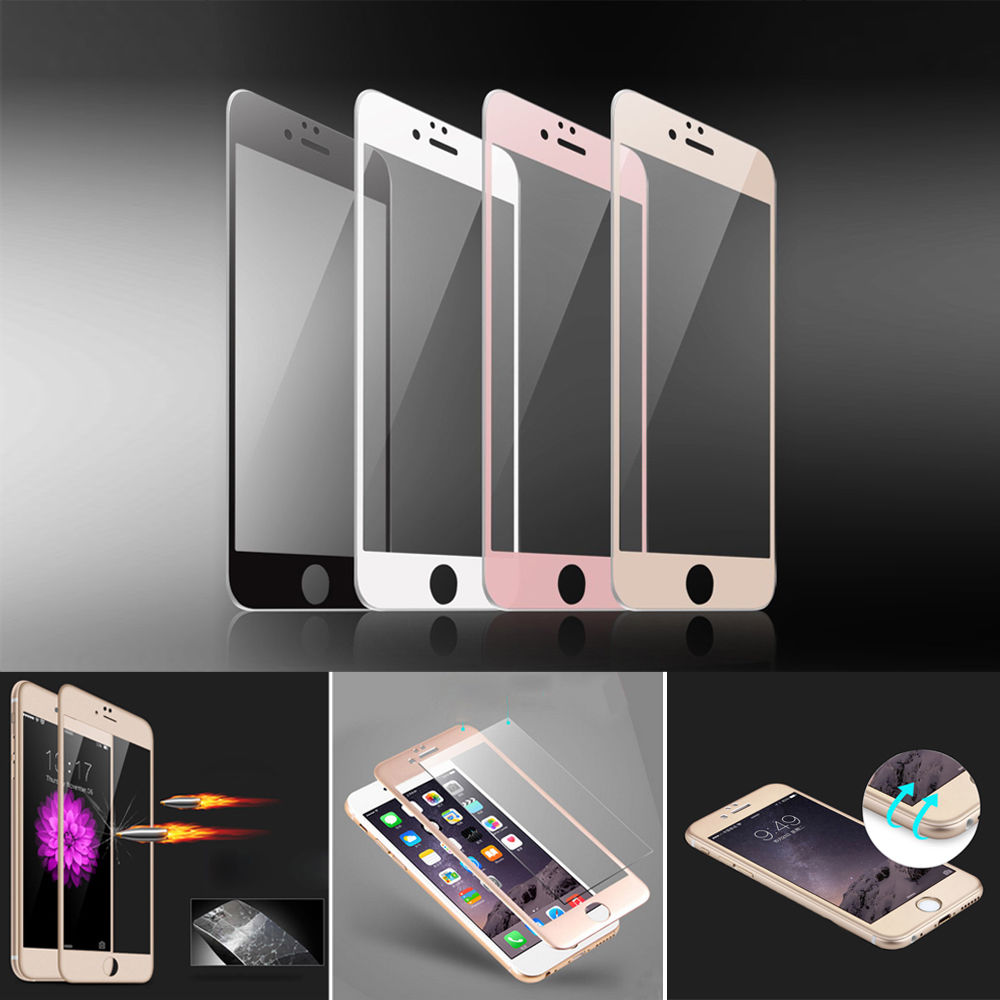 For iPhone 7 3D Full Screen Protector Film Gorilla Lens for iphone 6 6s 6 plus 7 plus 3D Tempered Glass black white gold rose