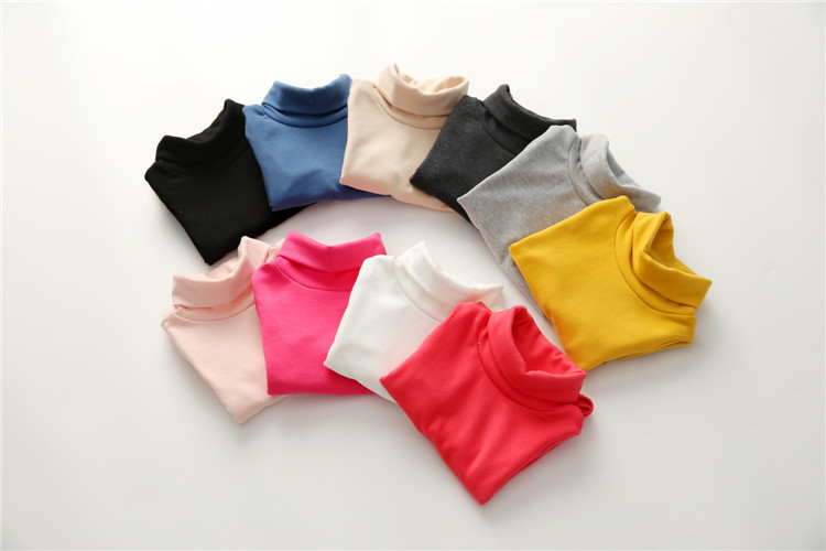 2018 Spring Autumn 2-10T Years Children'S Candy Color Sweet Long Sleeve High Neck Unisex Kids Girl Boy Basic Turtleneck T-Shirt (28)