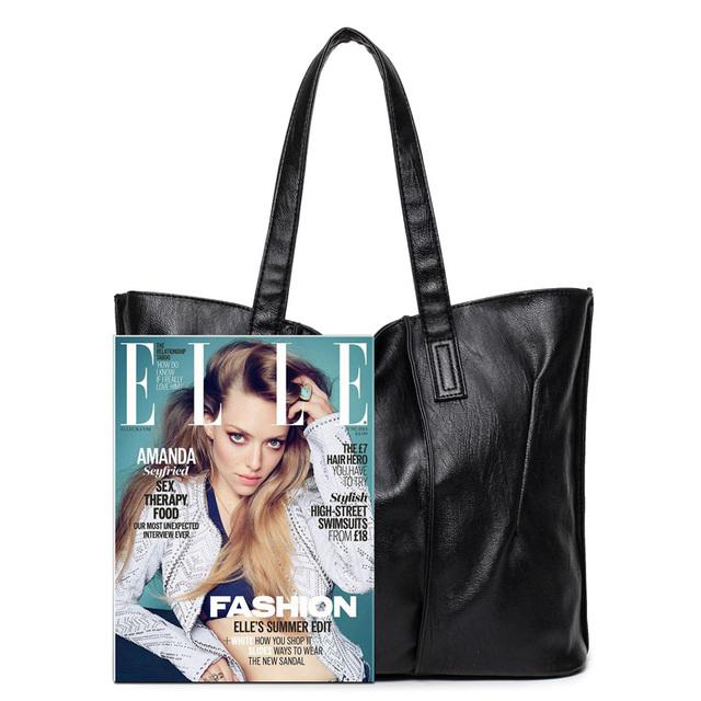 2017 New Simple style Soft Leather Shoulder Bag Fashion Women Designer Large Capacity Handbags Female High Quality Big Bags