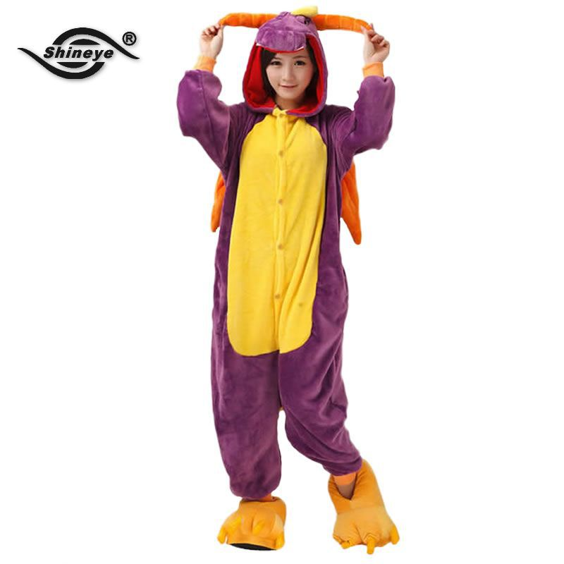 2017 Adult Winter/Fall Purple Dragon Unicorn Wing Flannel Hooded Pajama Costume Spyro Footie Onesie Footed Christmas Homewear PJ