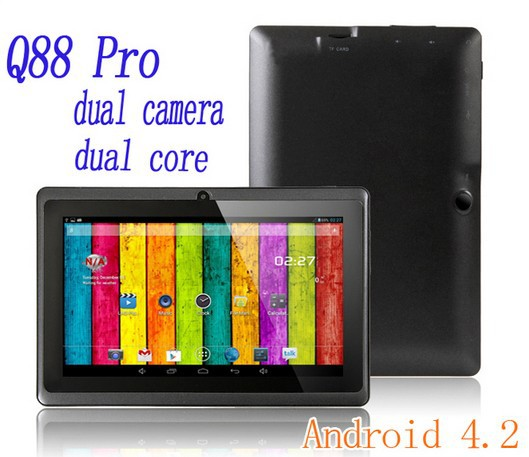 Wholesale Hot allwinner Android Tablet PC Q88 7 Inch Display, A23 Dual Core 1.2GHz ,512MB RAM, Front and Back Camera, 4GB