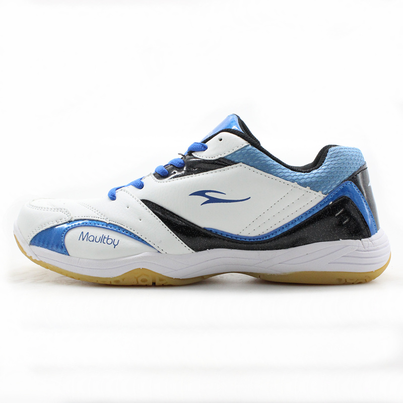 Maultby Mens Saga TD White Blue Badminton Shoes Training Breathable Anti-Slippery Light Sport Badminton Shoes