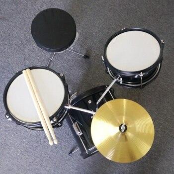 Black 3 pcs Starter Junior Drum set acoustic Child Drum Kit percussion 3-8 years old