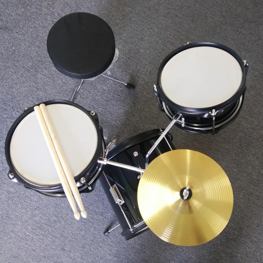 Noir 3 pièces batterie de démarrage Junior set batterie acoustique enfant Kit percussion 3-8 ans