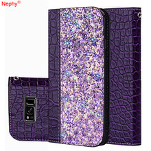 Bling Leather Phone Case For Samsung Galaxy S8 S9 Plus Note9 A8 J4 J6 J8 2018 J3 J5 2016 J7 2017 Prime Pro Cover Casing Holder(China)
