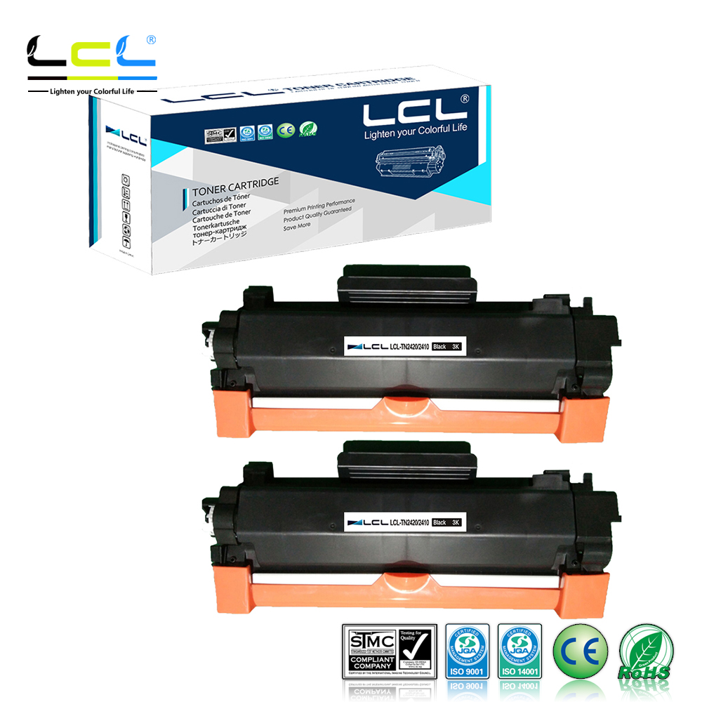 LCL TN2420 TN-2420 TN2410 3000 Pages Black (2-Pack) Without Chip Toner Cartridge Compatible For Brother  HL-L2375DW  DCP-L2550DW