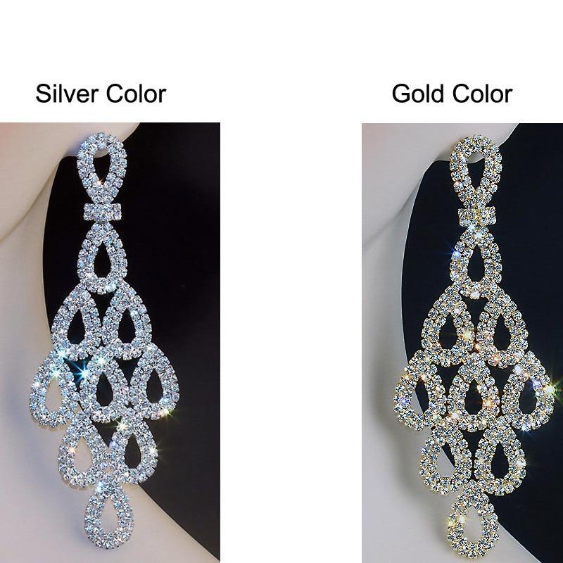 Chran 5 inch Long Chandelier Earrings Rhinestone Dangle Drop Earrings Fashion Bridal Bridesmaid Accessories Gold color Jewelry
