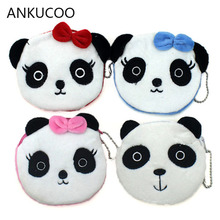 Kawaii Lovely Bowknot Panda Plush 10CM Lady Coin Purse & Wallet Pouch Case Bag Girl's Pendant Makeup Storage Bag Pouch Handbag недорого