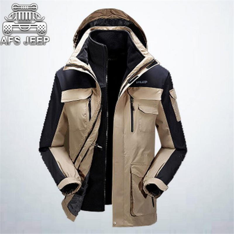 AFS JEEP Double Layer Man's Casual Patchwork Winter Thickness Waterproof Jacket,Wholesale Price Man's Fleece Inner Coat Hooded